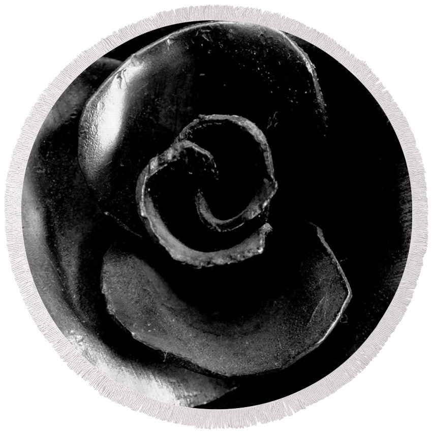 Rose Sculpture Metalwork Flower Petal Round Beach Towel featuring the photograph Metal Petals by Guy Pettingell