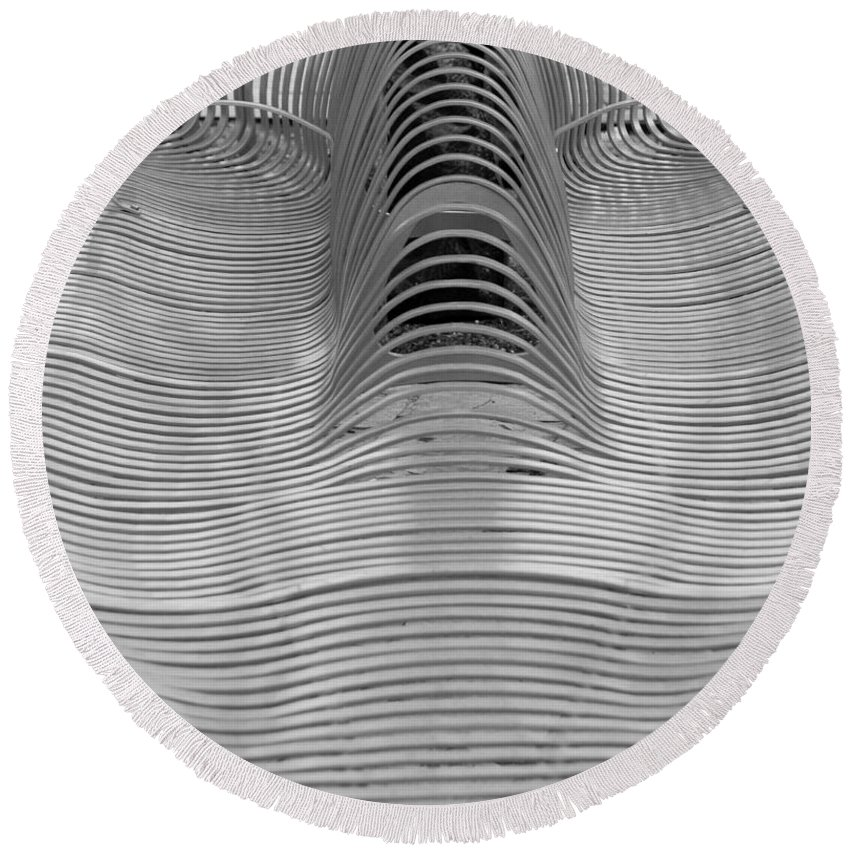 Abstract Round Beach Towel featuring the photograph Metal Strips In Balck And White by Rob Hans
