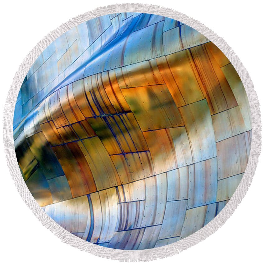 Hdr Round Beach Towel featuring the photograph Metal Wave by Chris Anderson