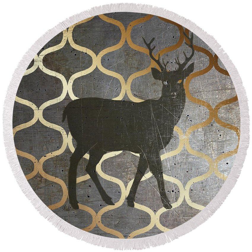 Rustic Round Beach Towel featuring the digital art Metallic Nature I by Andi Metz