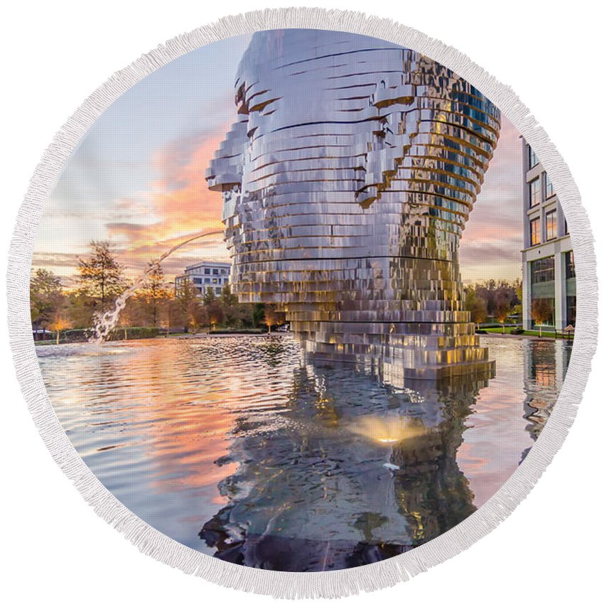 Metalmorphosis Round Beach Towel featuring the photograph Metalmorphosis Statue Charlotte Nc by Alex Grichenko