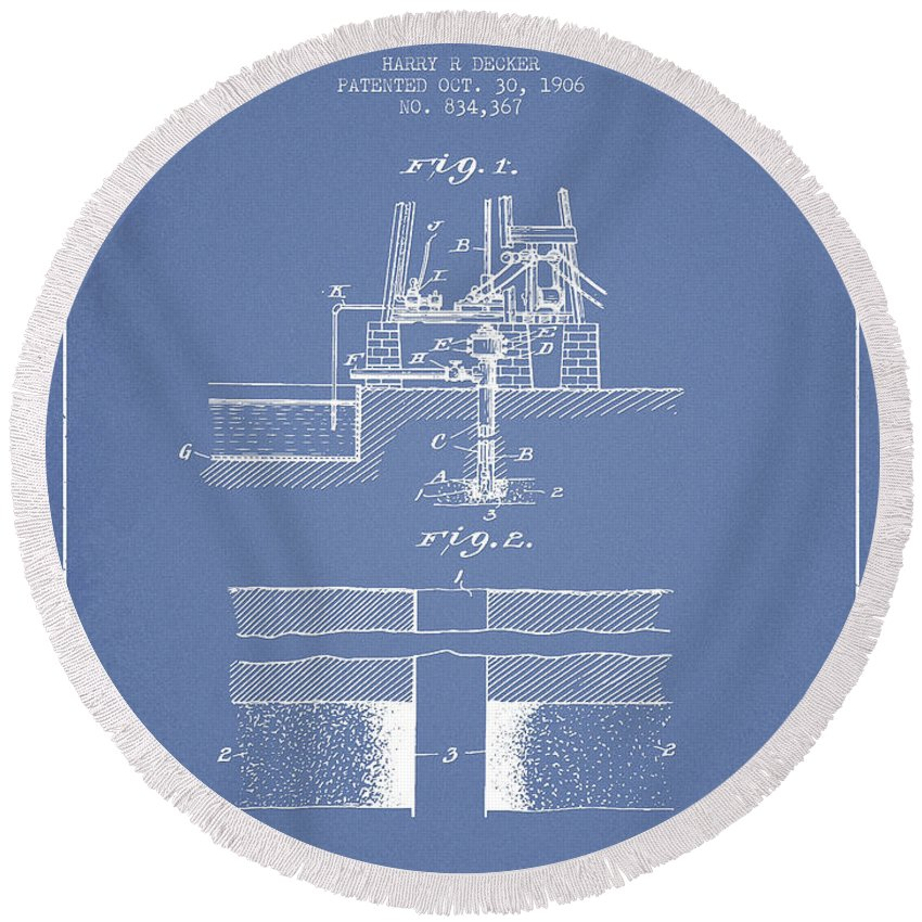 Oil Round Beach Towel featuring the digital art Method Of Drilling Wells Patent From 1906 - Light Blue by Aged Pixel