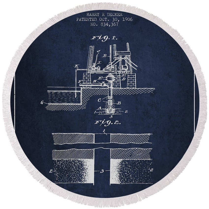 Oil Round Beach Towel featuring the digital art Method Of Drilling Wells Patent From 1906 - Navy Blue by Aged Pixel
