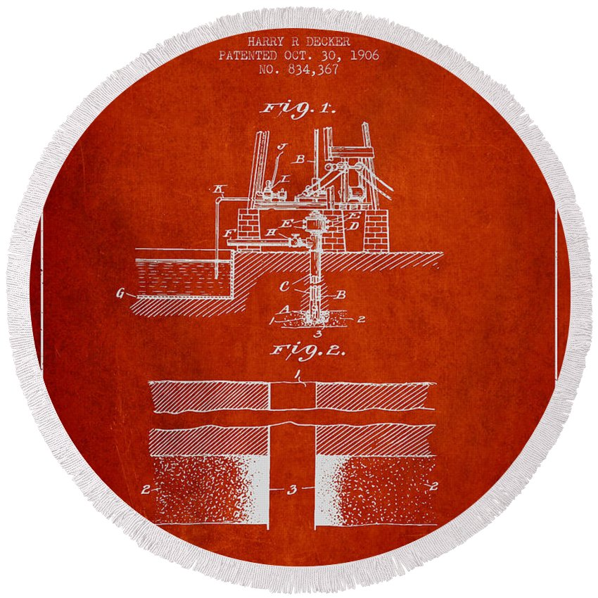 Oil Round Beach Towel featuring the digital art Method Of Drilling Wells Patent From 1906 - Red by Aged Pixel