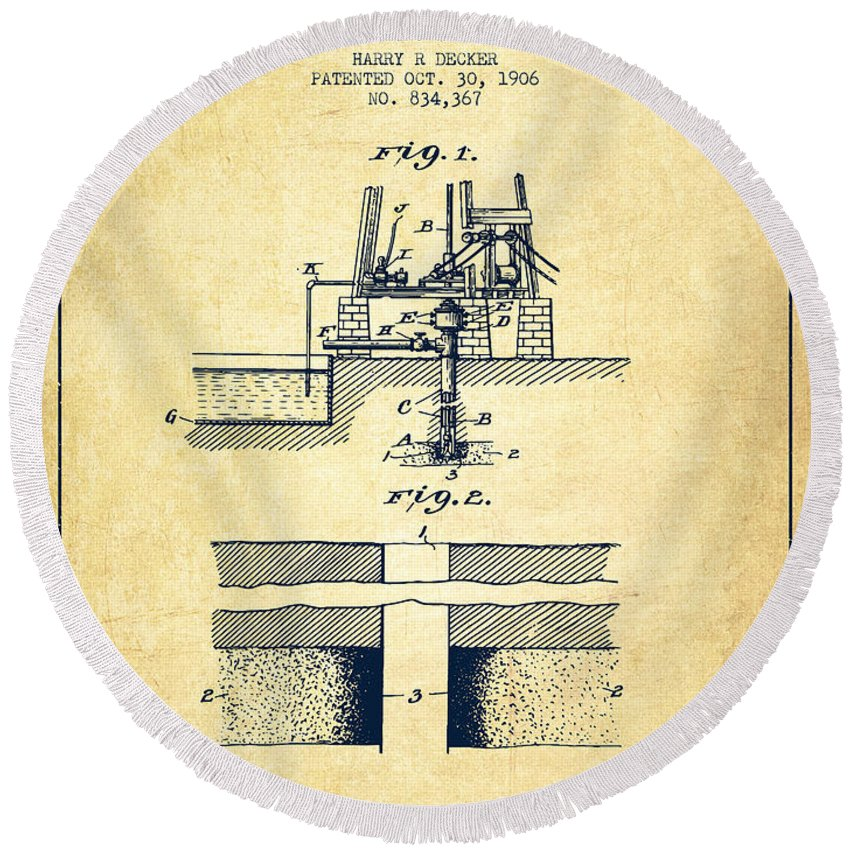 Oil Round Beach Towel featuring the digital art Method Of Drilling Wells Patent From 1906 - Vintage by Aged Pixel