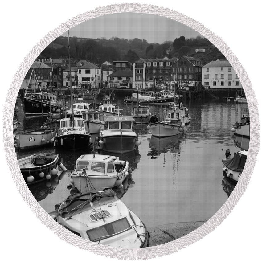 Commercial Round Beach Towel featuring the photograph Mevagissey Cornwall by Louise Heusinkveld