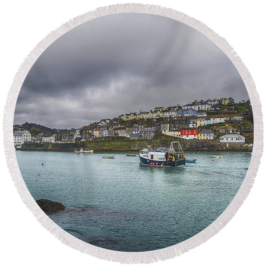 Mevagissey Canvas Round Beach Towel featuring the photograph Mevagissy Cornwall by Chris Thaxter