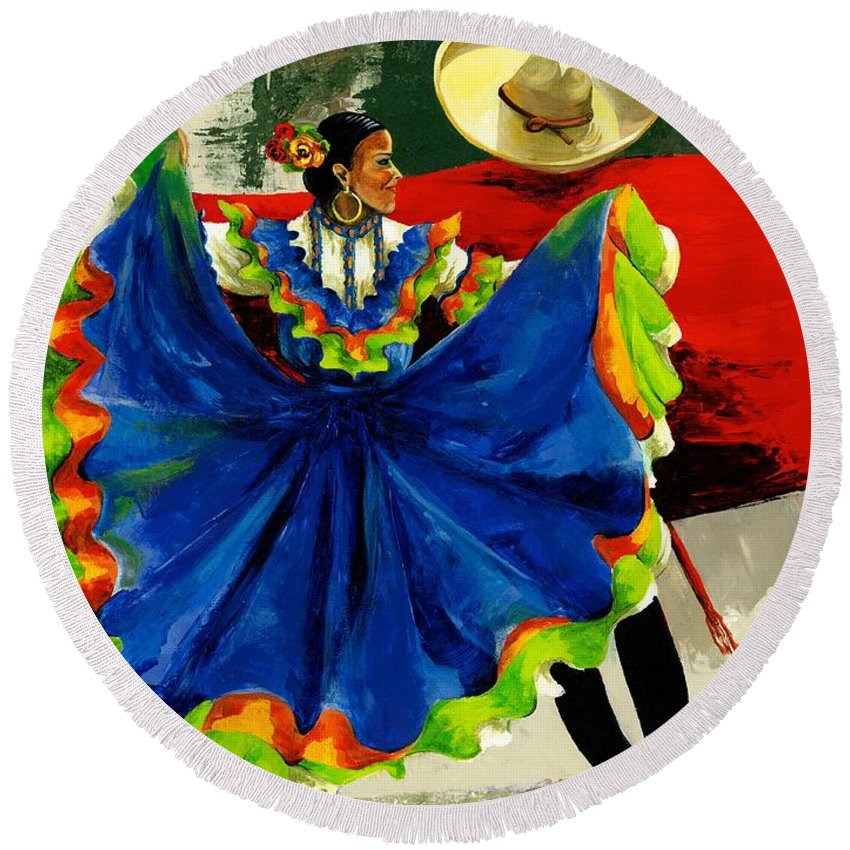 Canvas Prints Round Beach Towel featuring the painting Mexican Dancers by Elisabeta Hermann