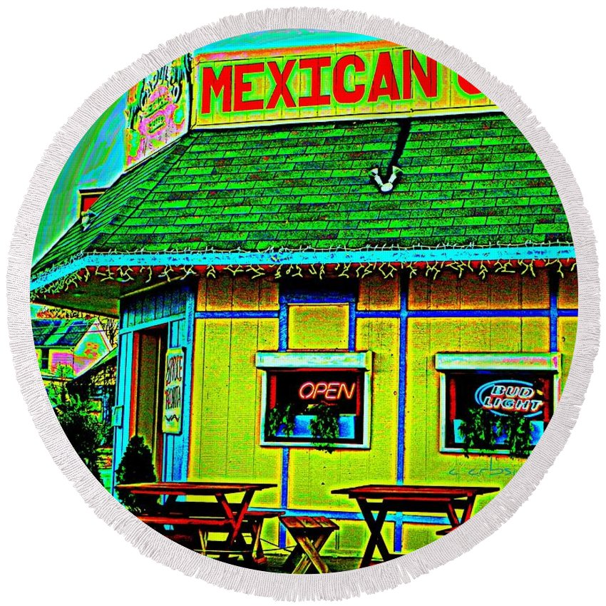 Restaurant Round Beach Towel featuring the photograph Mexican Grill by Chris Berry