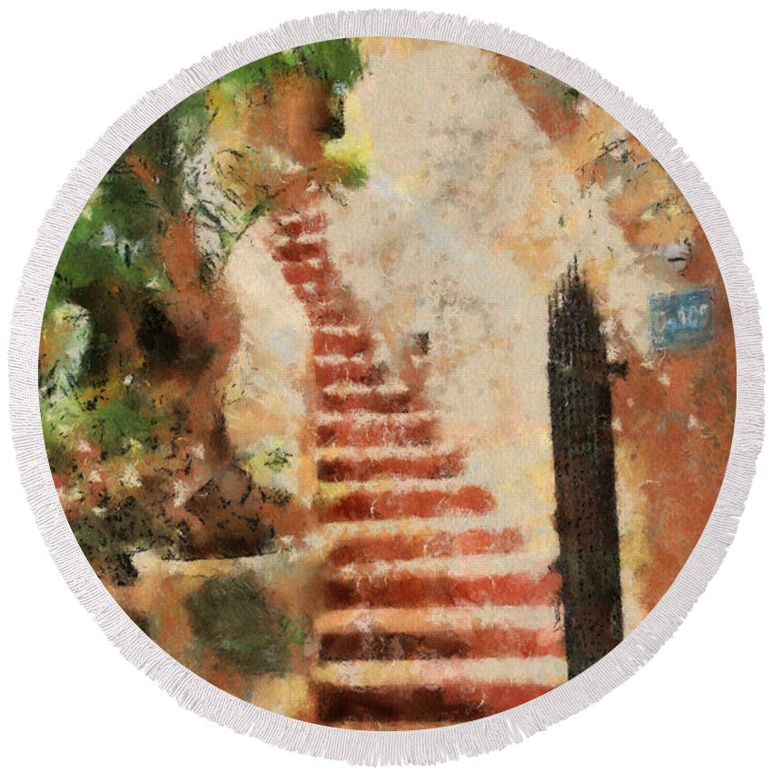 Stairs Round Beach Towel featuring the digital art Mexican Impression by Teresa Zieba