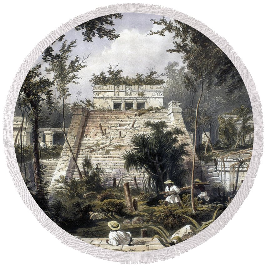 1844 Round Beach Towel featuring the photograph Mexico: Tulum, 1844 by Granger