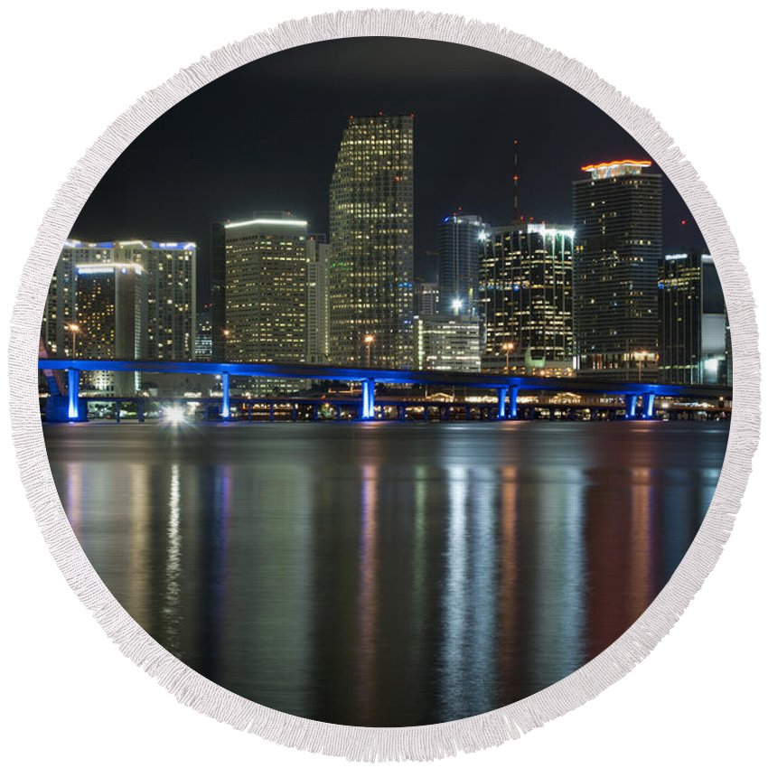 America Round Beach Towel featuring the photograph Miami At Night by Anthony Totah