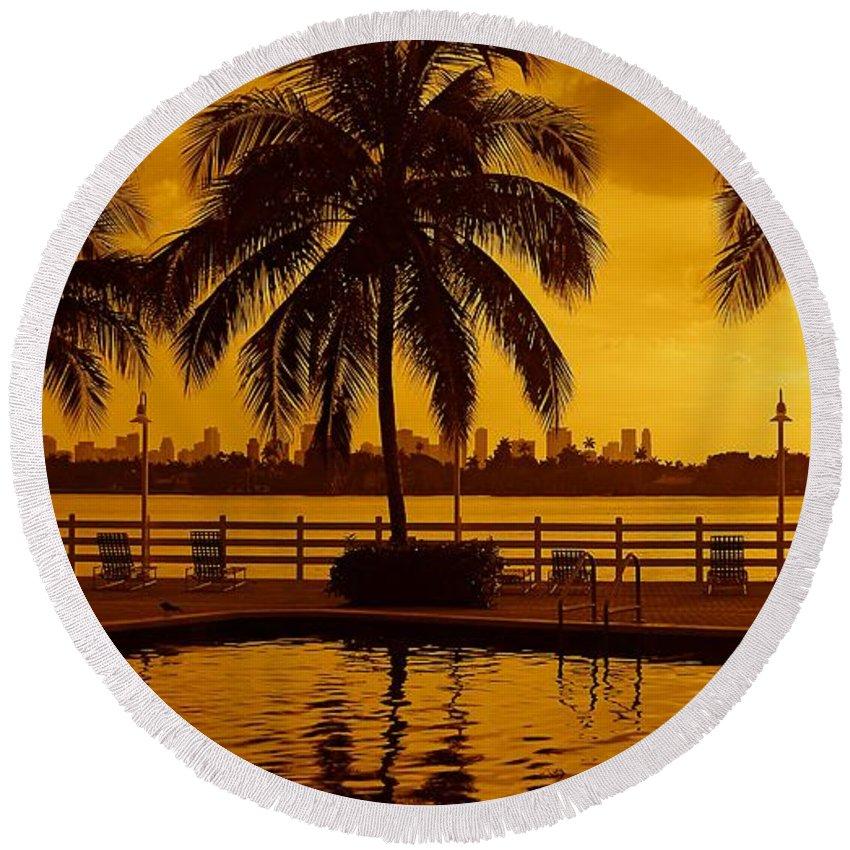 Miami South Beach Print Round Beach Towel featuring the photograph Miami South Beach Romance by Monique's Fine Art