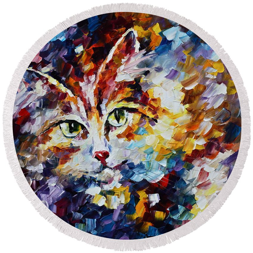 Afremov Round Beach Towel featuring the painting Miaw by Leonid Afremov