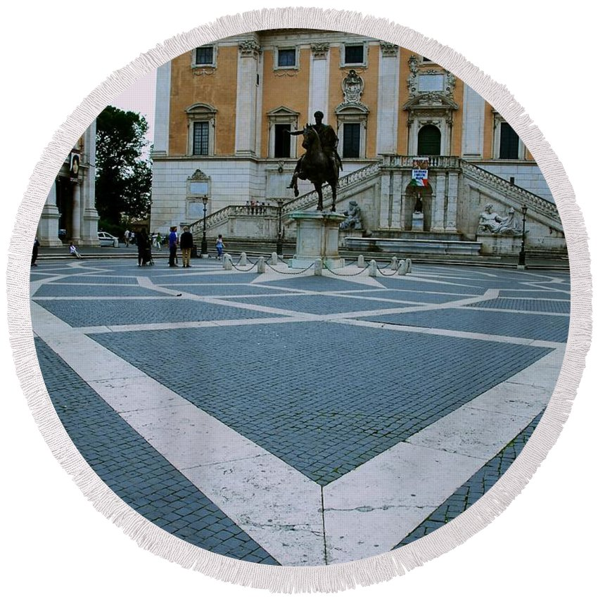 Capitoline Hill Round Beach Towel featuring the photograph Michael Angelo's Campidoglio by Eric Tressler