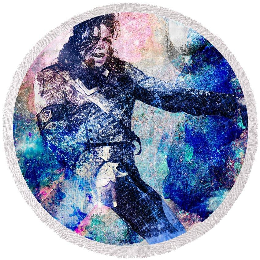 Rock Round Beach Towel featuring the painting Michael Jackson Original Painting by Ryan Rock Artist
