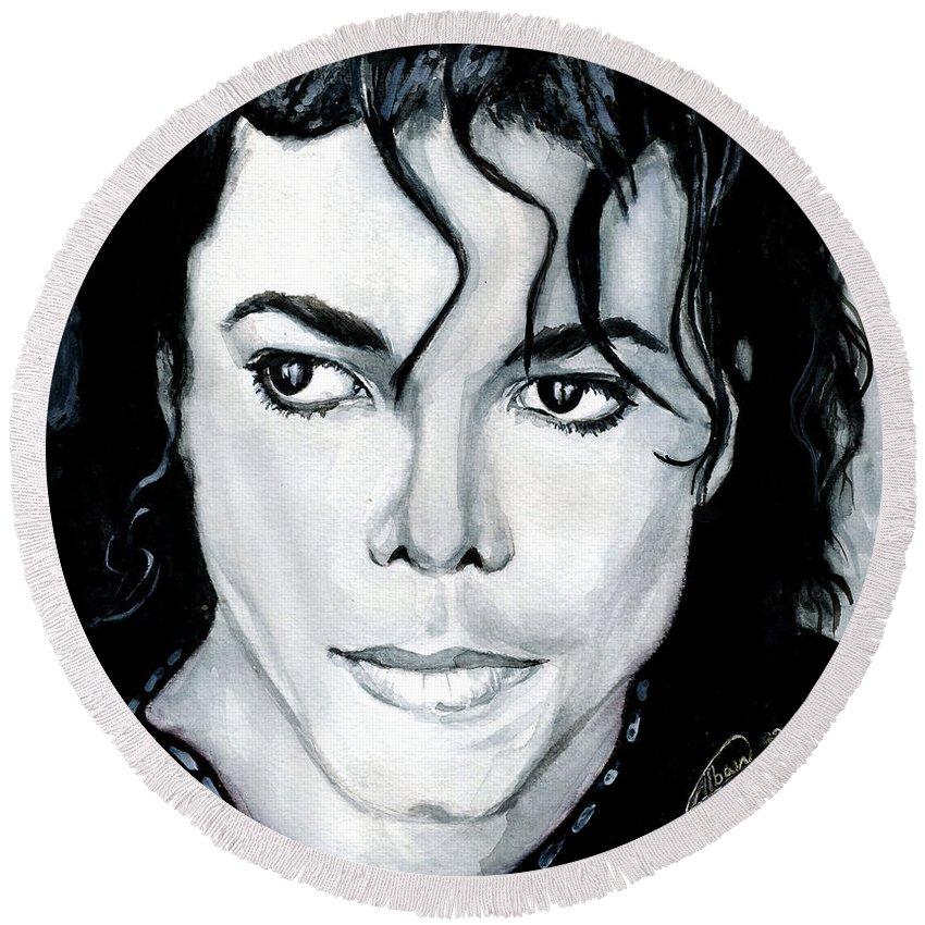 Michael Jackson Round Beach Towel featuring the painting Michael Jackson Portrait by Alban Dizdari