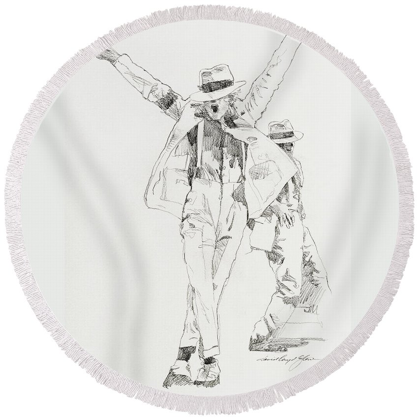 Michael Jackson Round Beach Towel featuring the drawing Michael Smooth Criminal by David Lloyd Glover