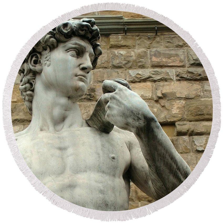 Michelangelos David Round Beach Towel featuring the photograph Michelangelo's David 1 by Ellen Henneke
