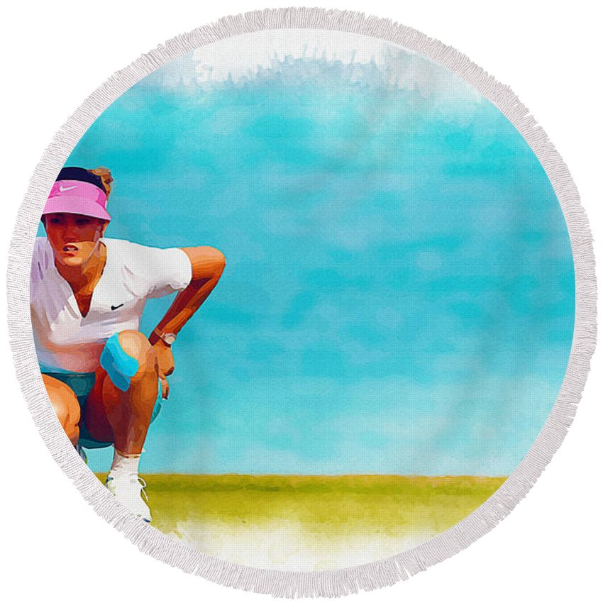 Canada Round Beach Towel featuring the digital art Michelle Wie Lines Up A Putt On The Eighth Green by Don Kuing