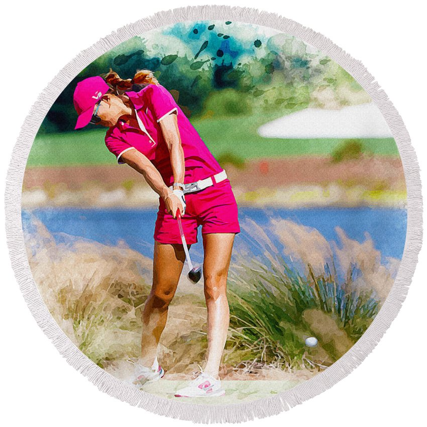 Canada Round Beach Towel featuring the digital art Michelle Wie Plays A Shot On The 6th Hole by Don Kuing