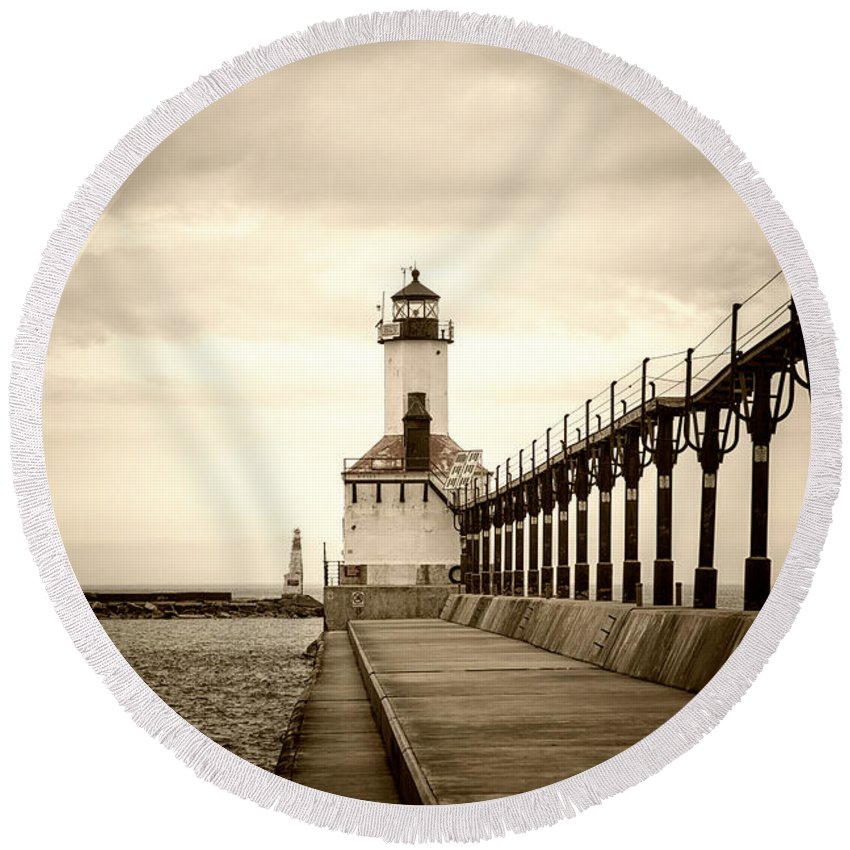 Michigan Round Beach Towel featuring the photograph Michigan City Lighthouse by Timothy Johnson