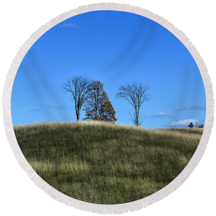 Fields Round Beach Towel featuring the photograph Michigan Fields by Dan Sproul