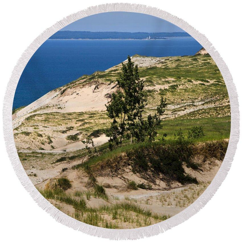 Michigan Round Beach Towel featuring the photograph Michigan Sleeping Bear Dunes by Christina Rollo