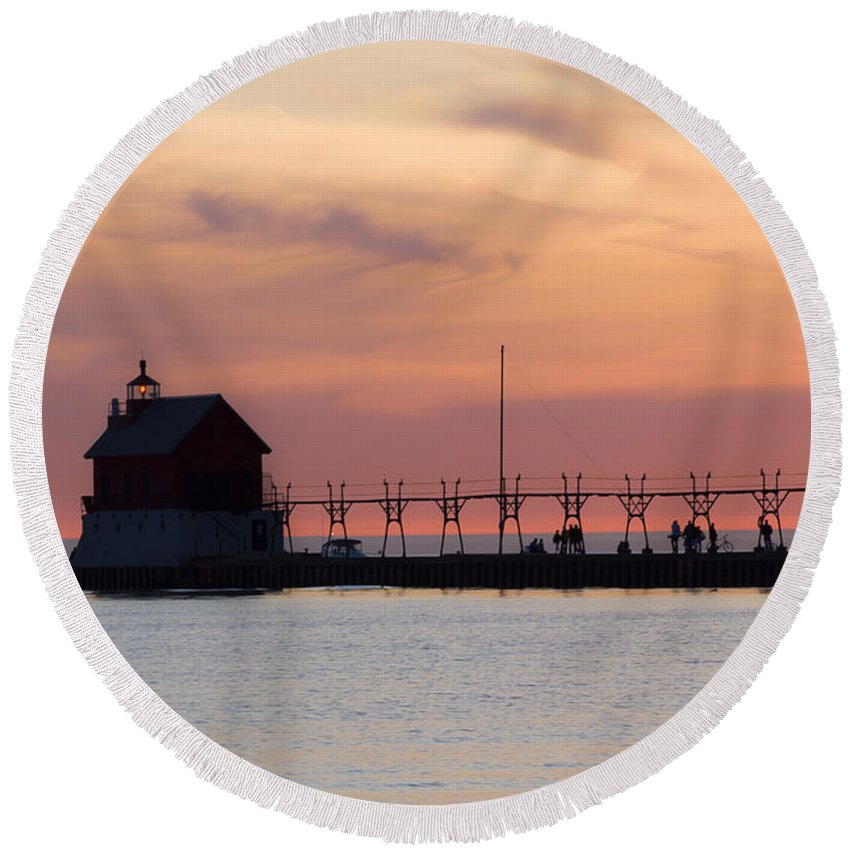 3scape Round Beach Towel featuring the photograph Michigan Sunset by Adam Romanowicz