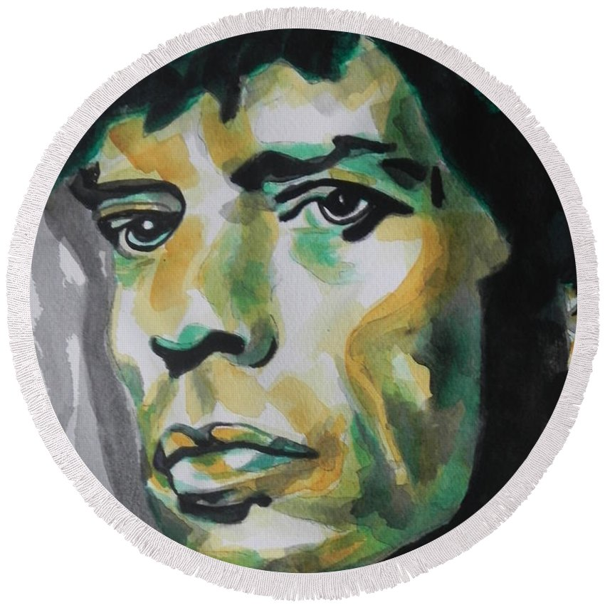 Watercolor Painting Round Beach Towel featuring the painting Mick Jagger by Chrisann Ellis