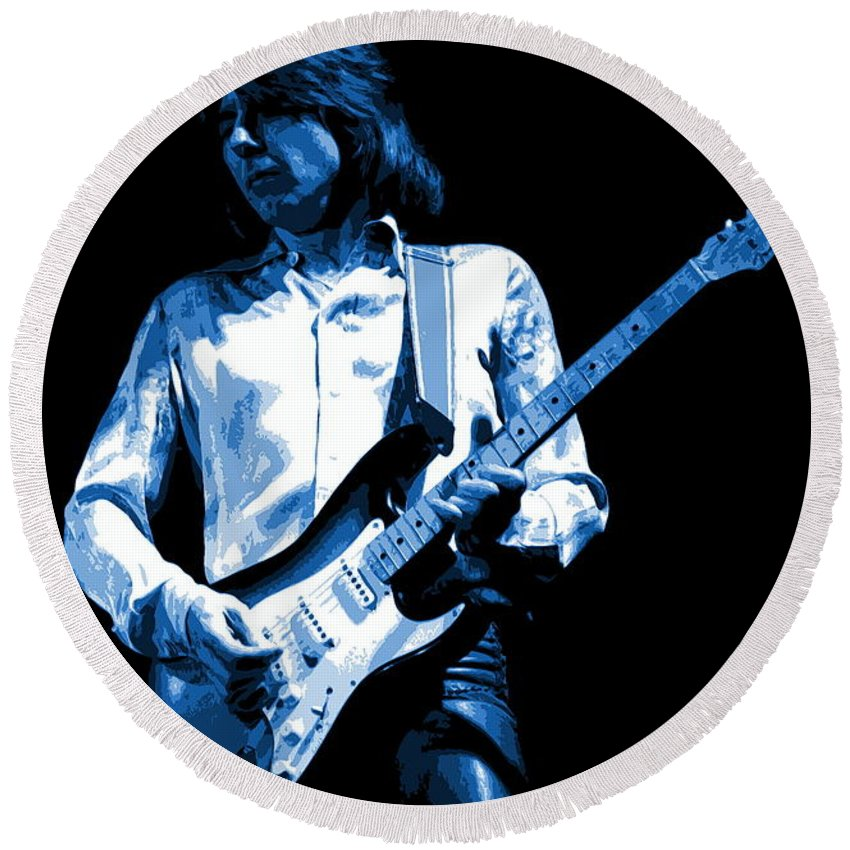 Mick Ralphs Round Beach Towel featuring the photograph Mick Plays The Blues 1977 by Ben Upham