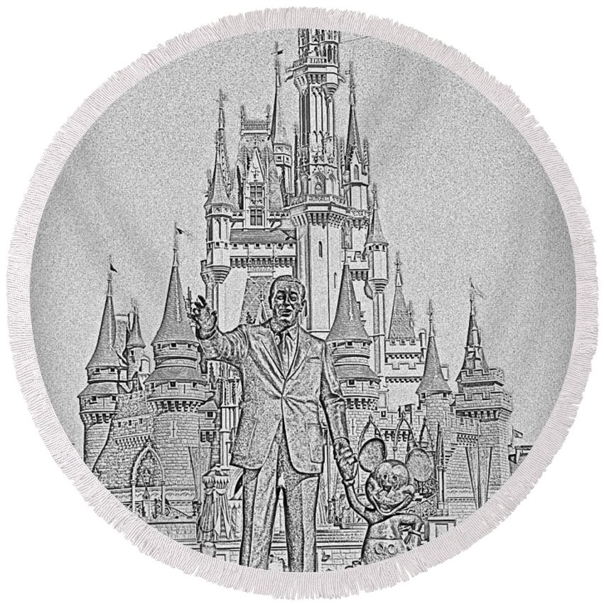 Walt Round Beach Towel featuring the photograph Mickey And Walt At The Park by Kevin Fortier