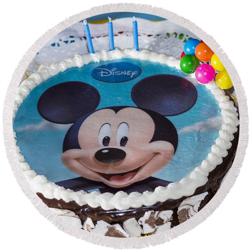 Mickey Mouse Round Beach Towel featuring the photograph Mickey Mouse Cake by Paulo Goncalves
