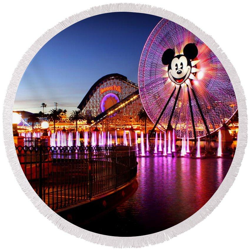 Disney Round Beach Towel featuring the photograph Mickey's Water Wheel by Allison Werbicki