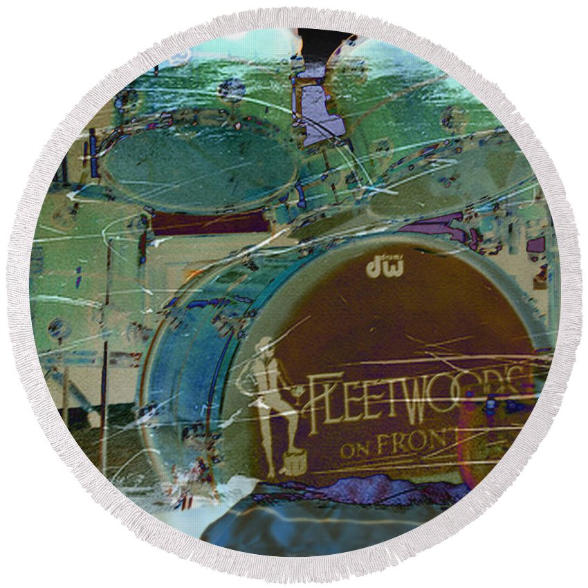 Wright Round Beach Towel featuring the photograph Mick's Drums by Paulette B Wright