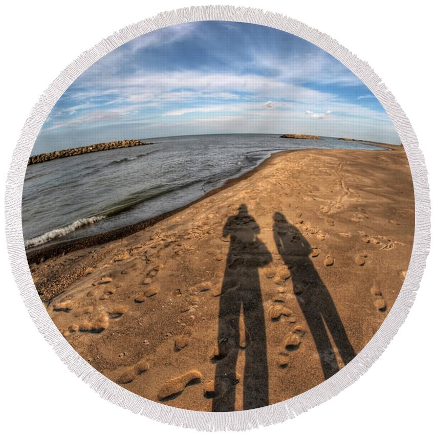 Round Beach Towel featuring the photograph Mid Dec Day At The Beach...who Can Argue At Presque Isle State Park Series by Michael Frank Jr
