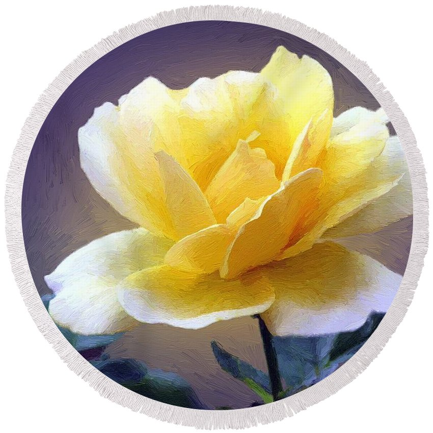 Rose Round Beach Towel featuring the painting Midas Kiss by RC DeWinter
