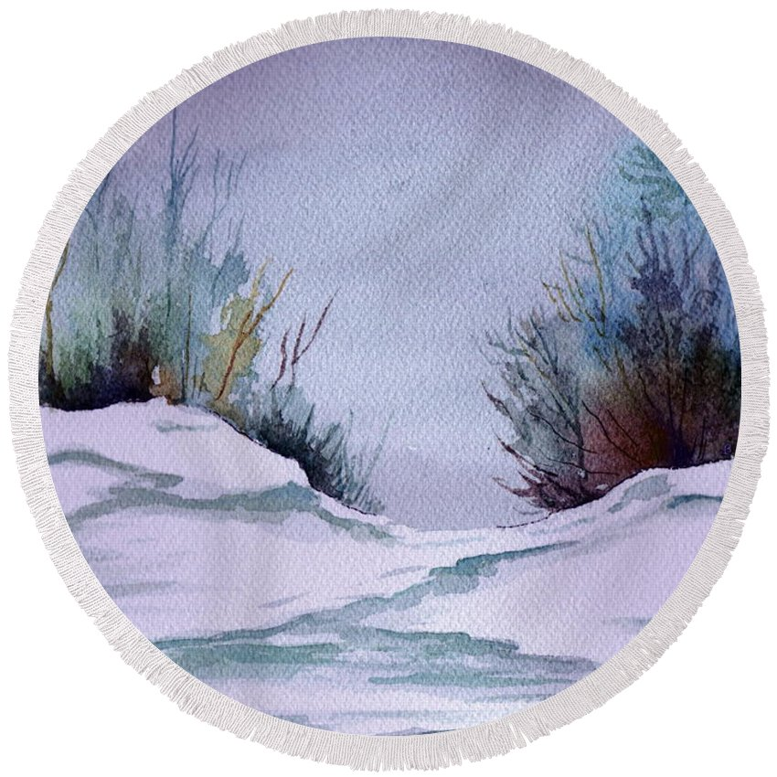 Landscape Round Beach Towel featuring the painting Midday Winter In Maine by Brenda Owen