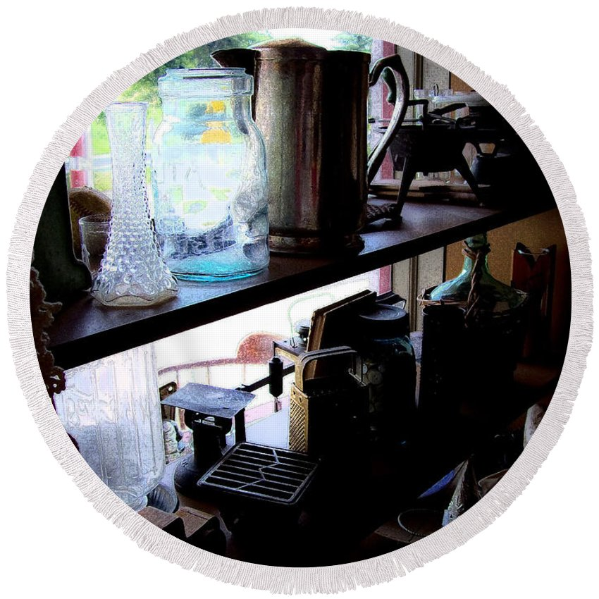 Middlebrook General Store Round Beach Towel featuring the photograph Middlebrook General Store Window by Greg Reed