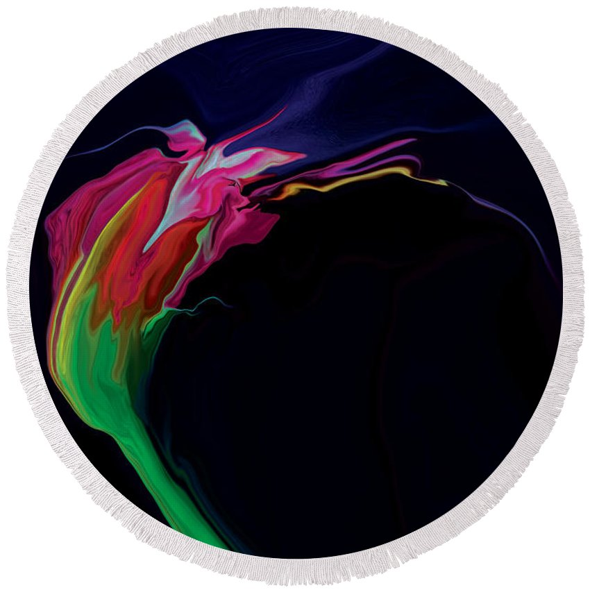 Red Round Beach Towel featuring the digital art Midnight Bloom by Rabi Khan