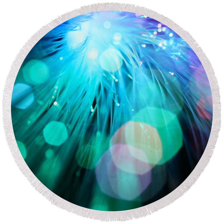 Abstract Round Beach Towel featuring the photograph Midnight Blue by Dazzle Zazz