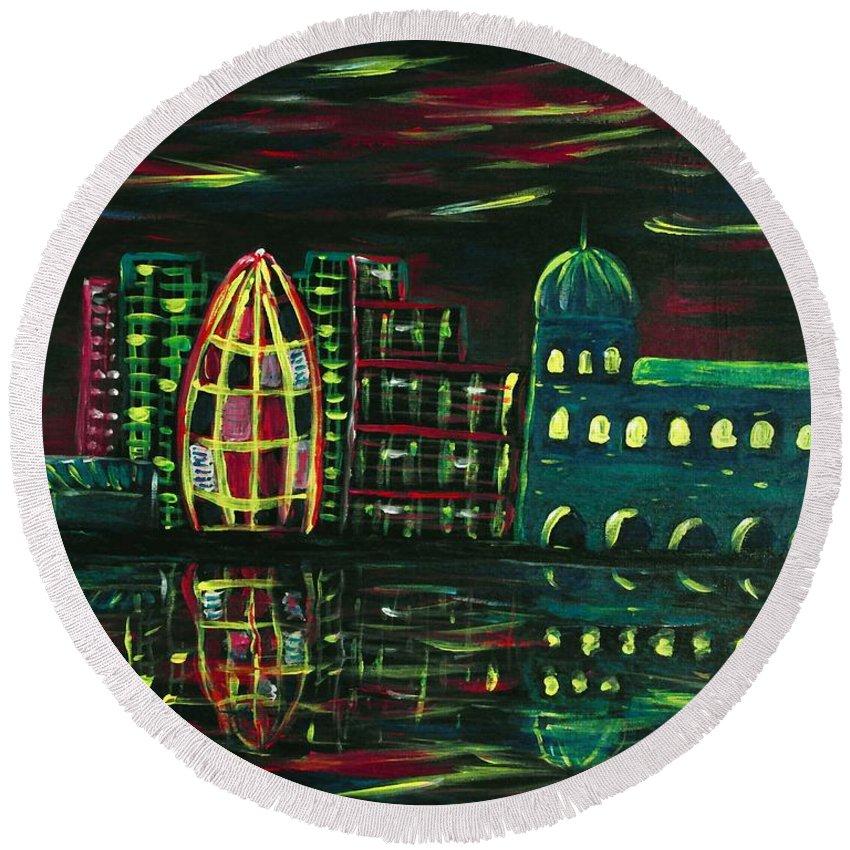 Malakhova Round Beach Towel featuring the painting Midnight City by Anastasiya Malakhova