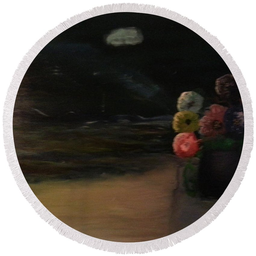 Night Round Beach Towel featuring the painting Midnight Flowers On The Beach by Sandra Harrison