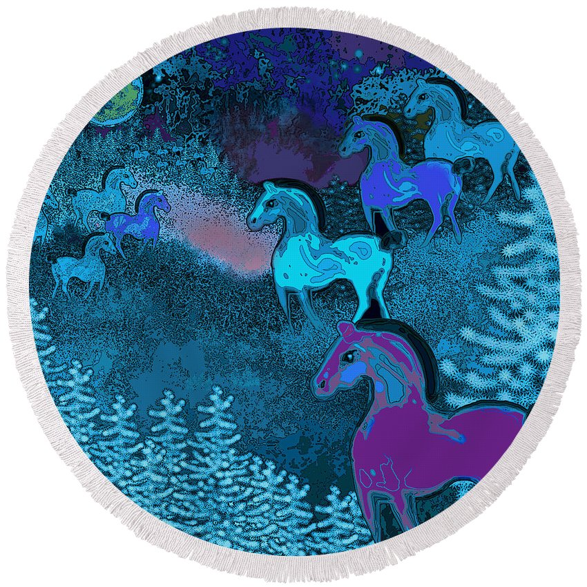 Franz Marc Round Beach Towel featuring the digital art Midnight Horses by Carol Jacobs