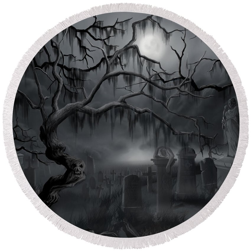 Landscape Round Beach Towel featuring the painting Midnight in the Graveyard by James Christopher Hill