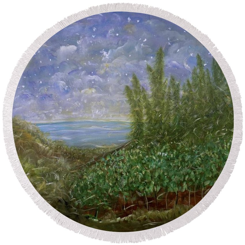 Evening Landscape Round Beach Towel featuring the painting Midnight Lullaby by Sara Credito