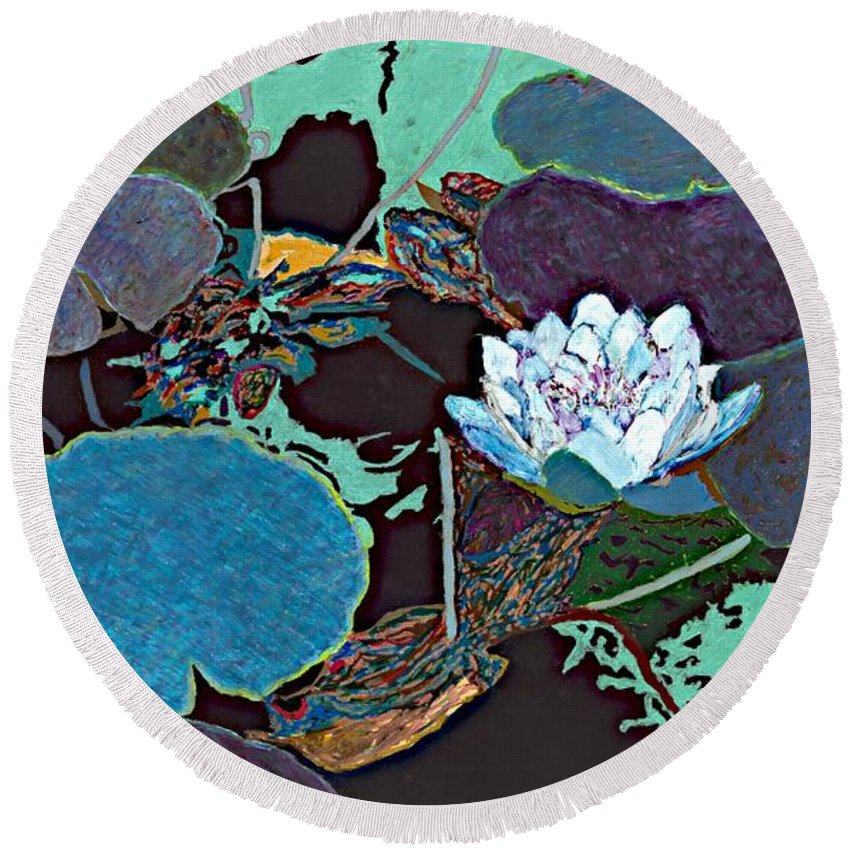 Landscape Round Beach Towel featuring the painting Midnight Moonglow by Allan P Friedlander