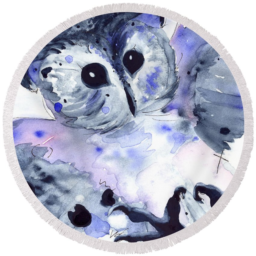 Owl Round Beach Towel featuring the painting Midnight Owl by Dawn Derman