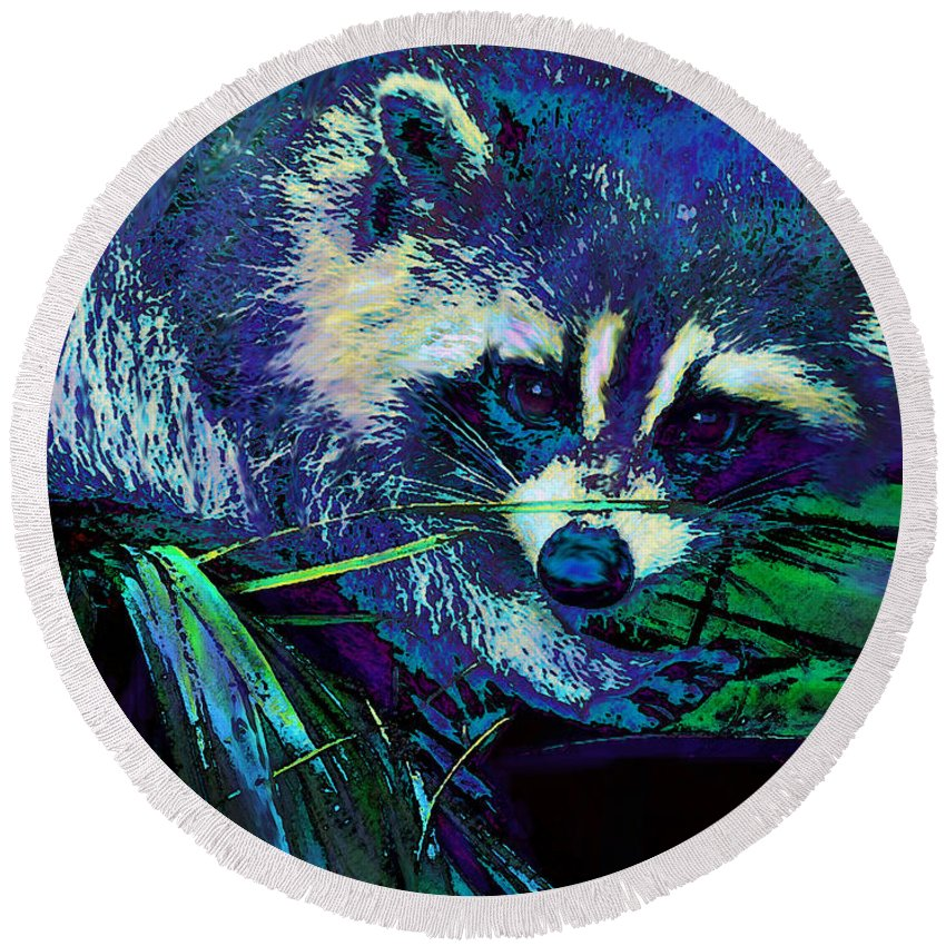 Racoon Round Beach Towel featuring the digital art Midnight Racoon by Jane Schnetlage