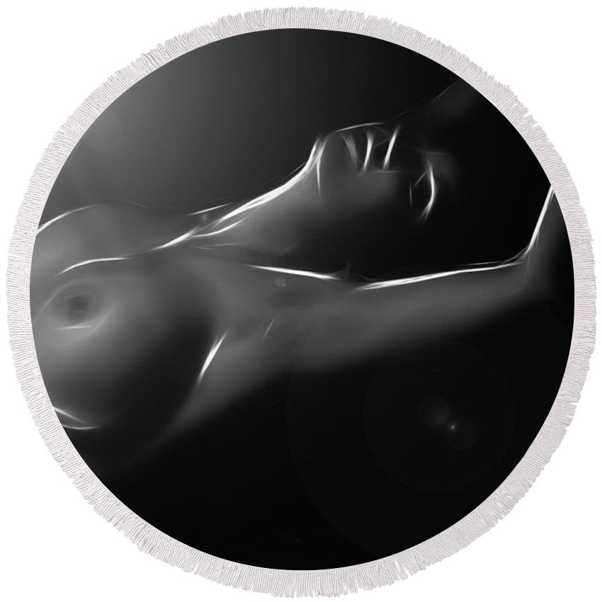 Woman Girl Female Nude Naked Light Tits Boobs Sensual Black White Erotic Curves Sexy Midnight Sun Expressionism Round Beach Towel featuring the painting Midnight Sun by Steve K